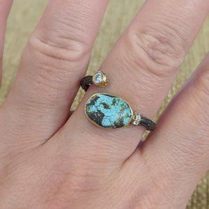Turquoise Bloom Silver Ring // Handmade // 6-10